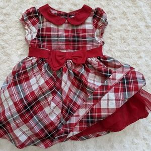 Infant red plaid Christmas dress